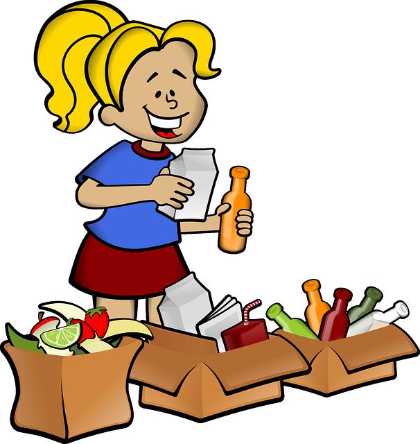 děvče a recyklace