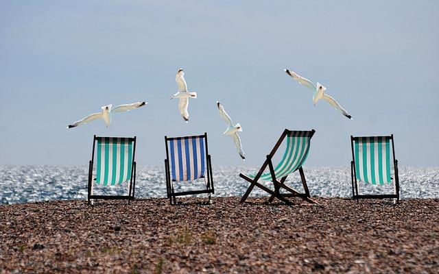 racci a lehátka na pláži